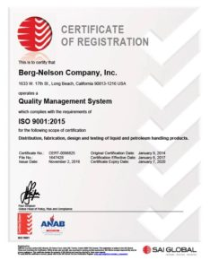 Certifications - ISO 9001 - Quality Management System | BERG - NELSON COMPANY, INC.